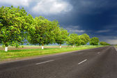 Landscape with road and dark sky — Stock Photo