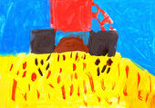 Child's drawing. Combine harvesting wheat. — Stock Photo
