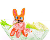 Child's drawing. Rabbit. — Stock Photo