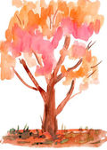 Child's drawing watercolor. Autumn tree — Photo