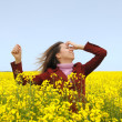 The having fun girl in the field — Stock Photo