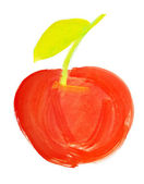 Red apple painted in watercolor — Stock Photo