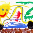 Stock Photo: Children's drawing water color paints. Car, sun and lizard.