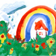 Drawing by hand a water colour. House, meadow, rain, rainbow. - Foto de Stock