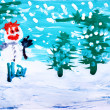 Drawing by hand a water colour. Winter forest with snowman - Foto de Stock