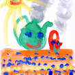 Children's drawing water color paints. Smiling sun, table, tea. - Stock Photo