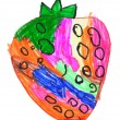 Strawberry. child's drawing on paper. — ストック写真