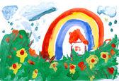 手で水の色の描画。家, 草原, 雨, 虹. — ストック写真