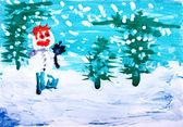 Dessin à la main une couleur de l'eau. forêt d'hiver avec bonhomme de neige — Photo