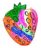 Strawberry. child's drawing on paper. — Stock Photo
