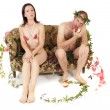 Nude couple conflict — Stock Photo