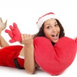 Single santa woman heart — Stock Photo #11982738