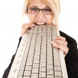 Woman biting keyboard — Stock Photo #11983605