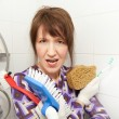 Woman serial cleaner - Stock Photo