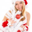 Christmas woman and tree — Stock Photo