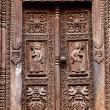 Temple wooden carved door — Stock Photo