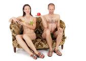 Naked couple seduction — Stock Photo