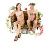 Nude couple seduction — Stock Photo