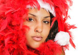 Santa woman close portrait — Stock Photo