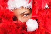 Santa woman close portrait — Stock Photo