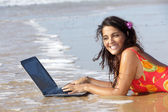 Woman with laptop in water — Stock Photo
