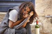 Alone drunk girl — Stock Photo