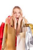 žena vánoční nákupy — Stock fotografie