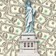 Statue of Liberty - One hundred U S dollars background — Stockfoto #12234978