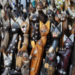 Wooden cats - carved figurines — Stock Photo