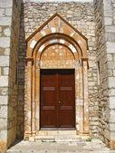 Old large wooden door - door portal - Krk Croatia — Stock Photo