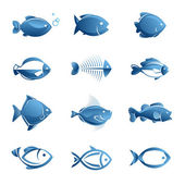 Set of fish icons — Stock Vector