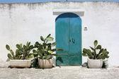 Old blue rusty door — Stock Photo