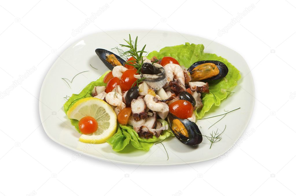 Sea food isolated on white plate  Stock Photo #11993484