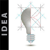 Light bulb idea vector illustration and science construction — Stok fotoğraf