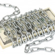 Royalty-Free Stock Photo: 100 dollar bills wrapped metal chain
