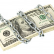 Royalty-Free Stock Photo: A stack of 100 dollars wrapped chain