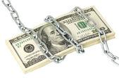Zásobník 100 dolarů zabalené řetěz — Stock fotografie