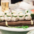 Dim Sum Dumplings on Bamboo Raft - Stock Photo