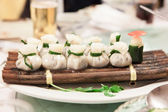 Dim Sum Dumplings on Bamboo Raft — Stock Photo