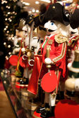Red Christmas Nutcracker on at a Toy Store — Stock Photo