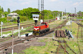 Shunter on a retarder of a hump yard — Stock Photo