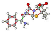 Ampicillin molecular model — Stock Photo
