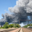 Fire near railway station Brovary — Stock Photo