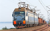 Freight train on a bank of the Dnieper — Stock Photo