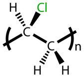 Polyvinyl chloride (PVC) structural formula — Vettoriale Stock