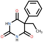 Phenobarbital (epilepsy drug) structural formula — Stock Vector