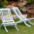 Stock Photo: White teak chairs