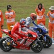 Stock Photo: Casey stoner and jorge lorenzo after race, moto gp 2008 Portugal