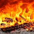 Oven fire — Stock Photo