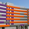Purple and orange office building — Stock Photo